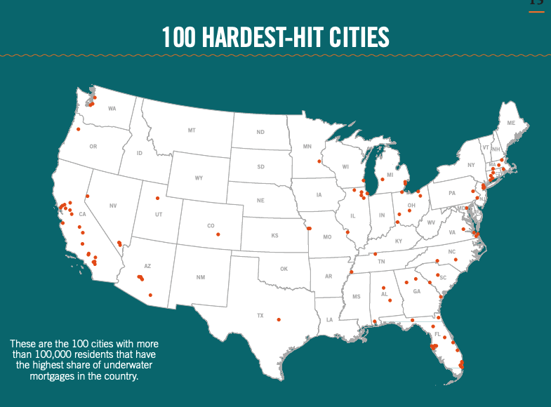 This infographic includes a map of the 100 hardest hit cities. These are the 100 cities with more than 100,000 residents that have the highest share of underwater mortgages in the country.