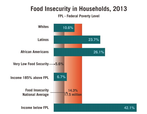This infographic includes a graph showcasing the food insecurity in households, 2013, by federal poverty level