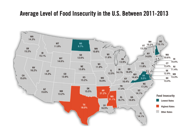 This infographic includes a map of the Average level of food insecurity in the between 2011-2013