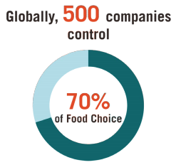 This infographic includes a diagram of globally, 500 companies control 70% of food choice