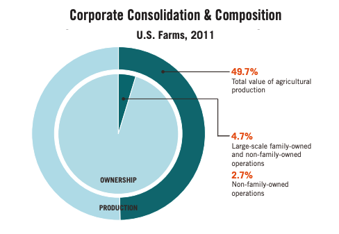 This infographic includes a diagram of the corporate consolidation and composition