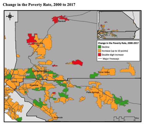 This infographic includes a map of the  Change in the Poverty Rate, 2000 to 2017