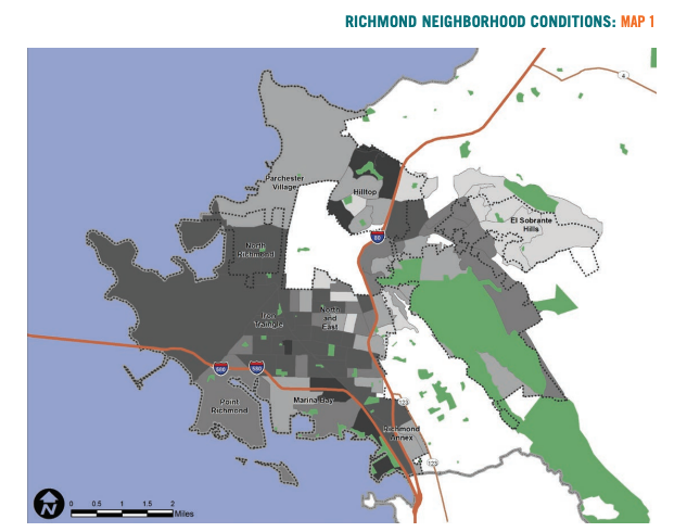 Map 1 showcases Richmond neighborhood conditions based on renter households.