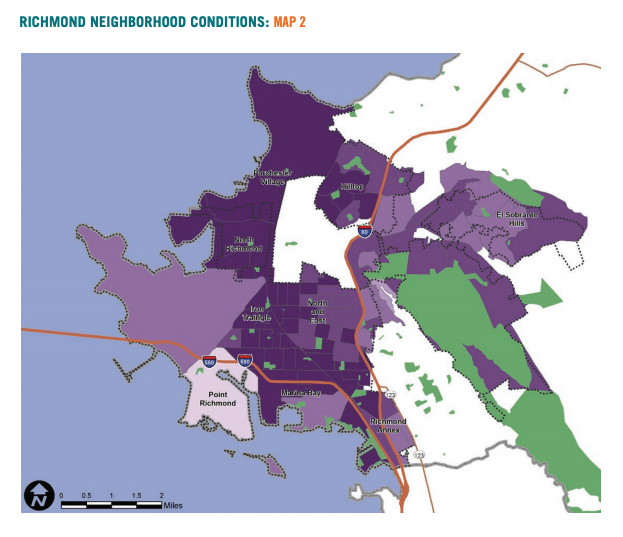 Map 2 showcases Richmond neighborhood conditions based on communities of color population.