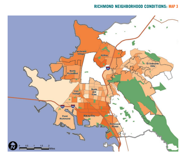 Map 3 showcases Richmond neighborhood conditions based on African American populations