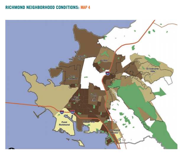 Map 4 showcases Richmond neighborhood conditions based on adult education attainment.