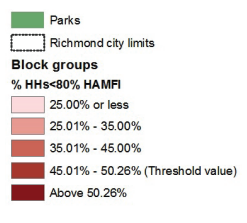 Map 5 showcases Richmond neighborhood conditions based on low income households