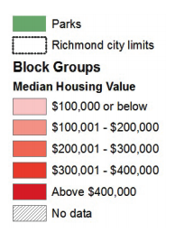 Map 6 showcases Richmond neighborhood conditions based on median housing value.