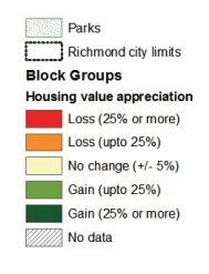 Map 8 showcases Richmond neighborhood conditions based on housing value appreciation.