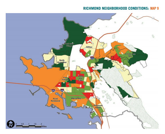 Map 9 showcases Richmond neighborhood conditions based on change in median household income