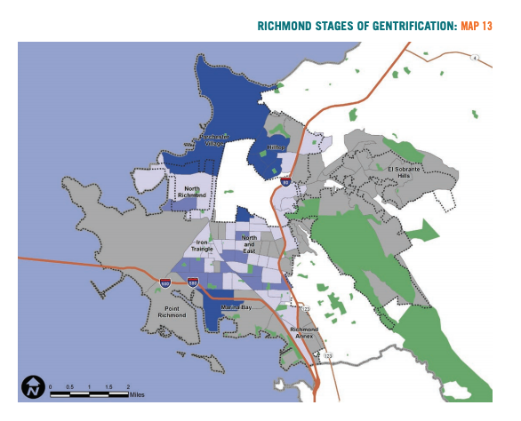 Map 13 showcases Richmond stages of gentrification based on housing market conditions