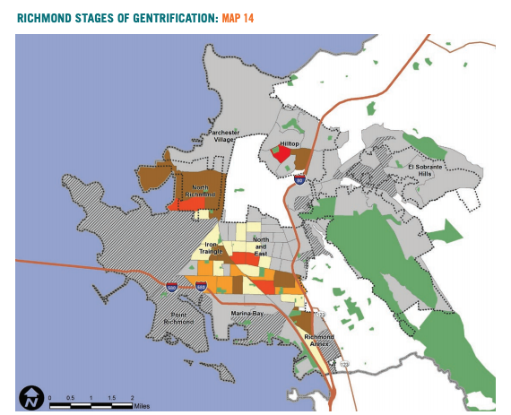 Map 14 showcases Richmond stages of gentrification based on gentrification analysis