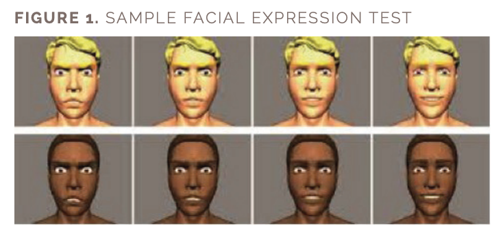 Figure 1 includes an image of a sample facial expression test