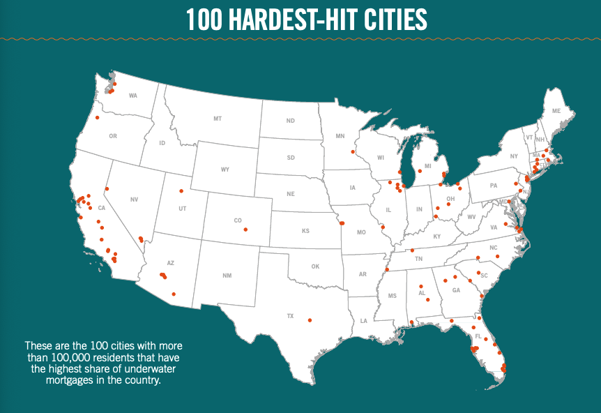 This infographic includes a map showcasing the 100 hardest hit cities. These are the 100 cities with more than 100,000 residents that have the highest share of underwater mortgages in the country.