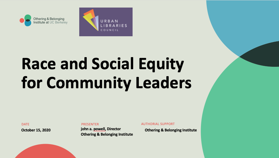 Race and Social Equity for Community Leaders