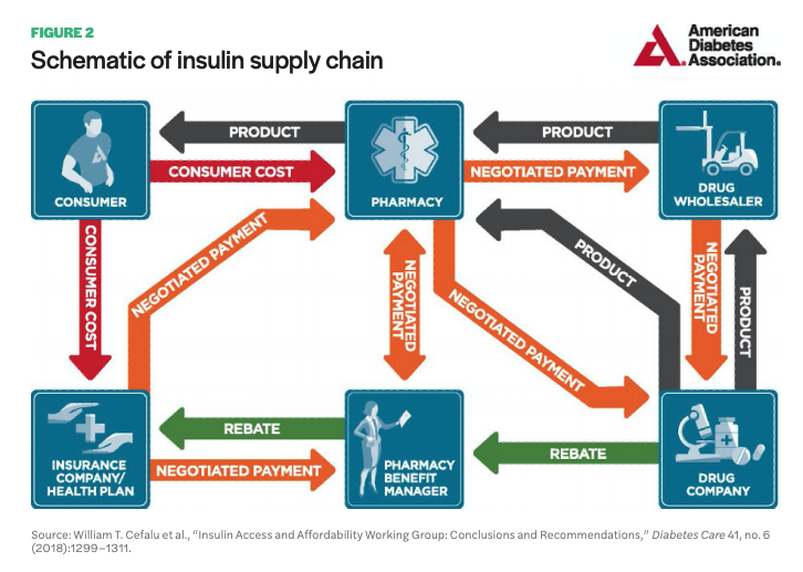 Figure 2 includes a diagram of the Schematic of insulin supply chain