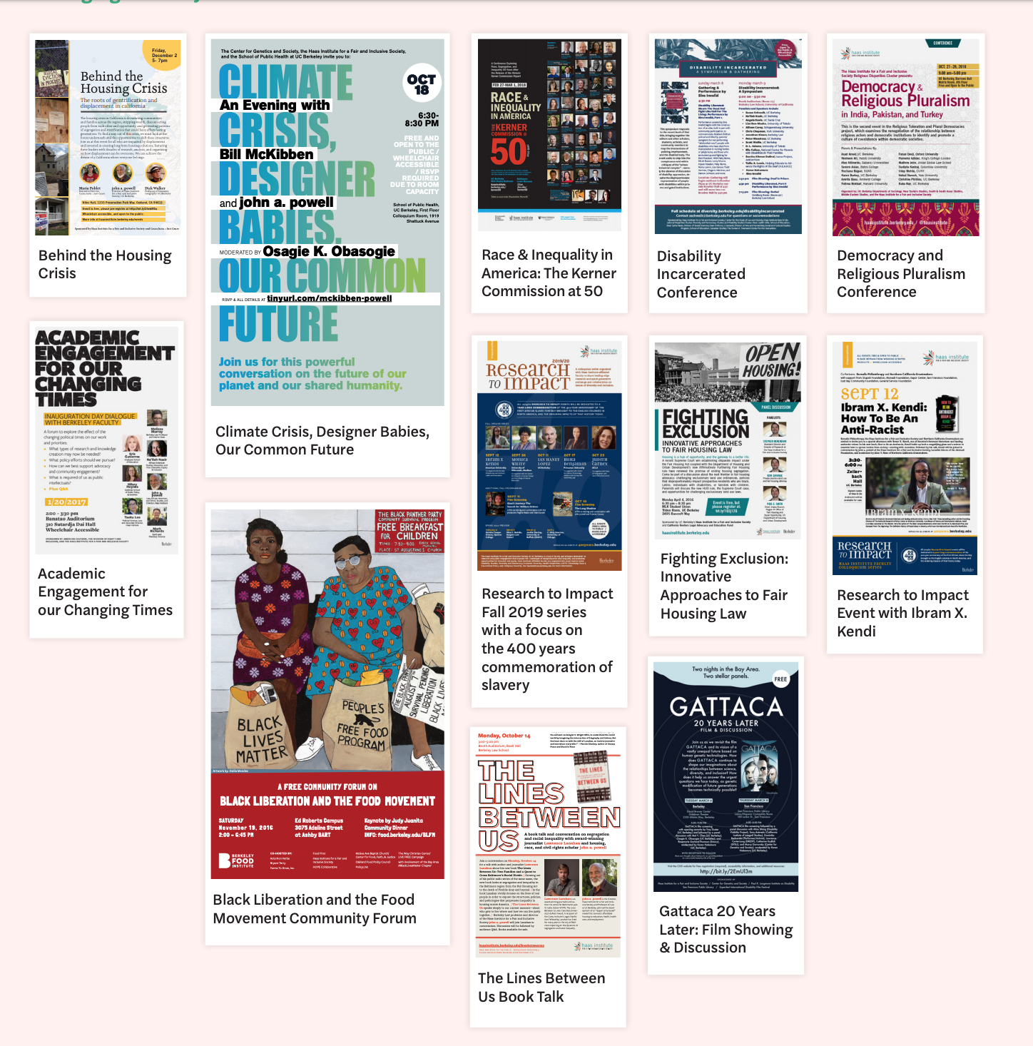 A grid showing posters of events from the O&B Institute