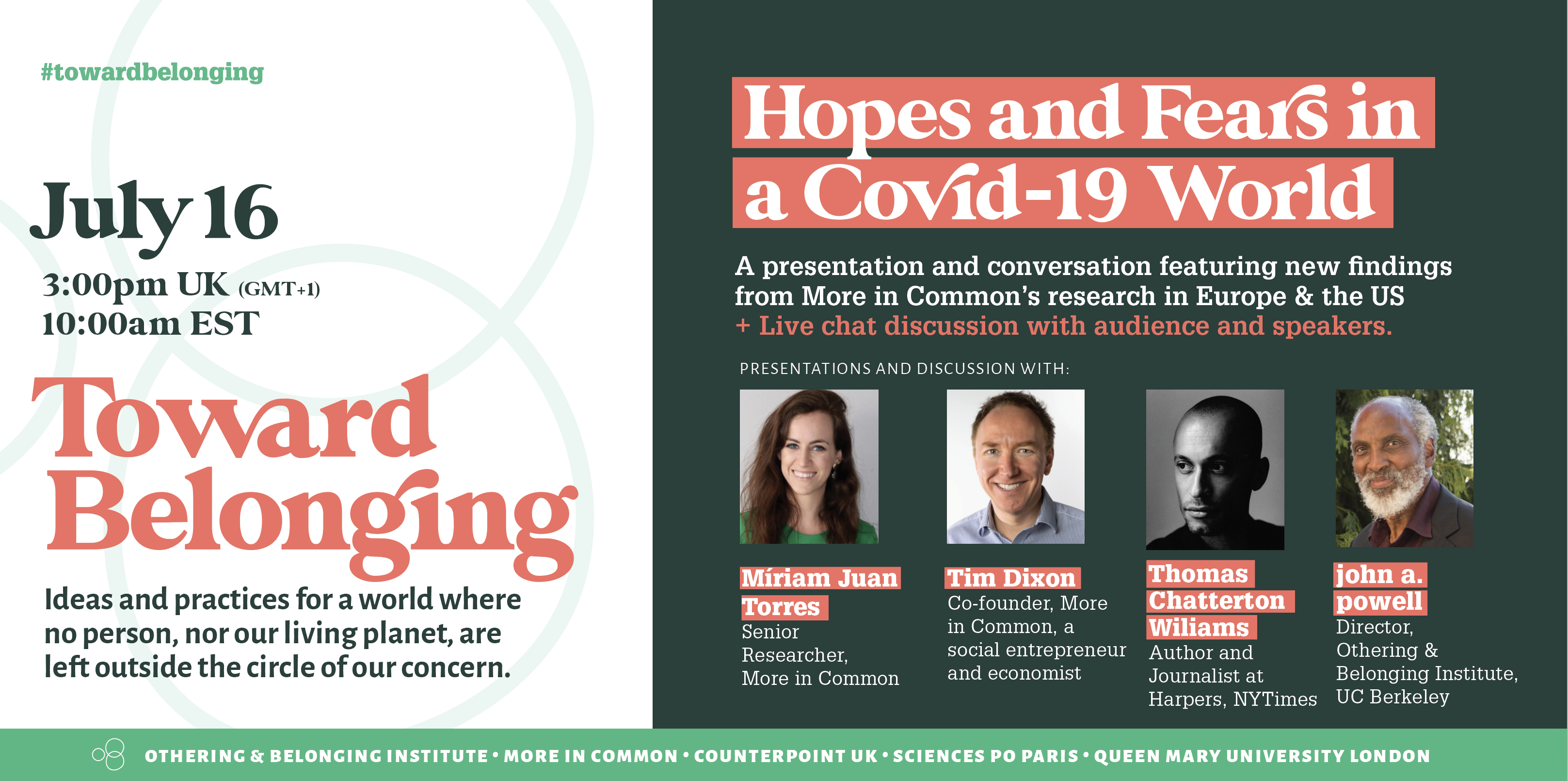 Dark green graphic with four headshots of speakers speaking on Toward Belonging July 16 event
