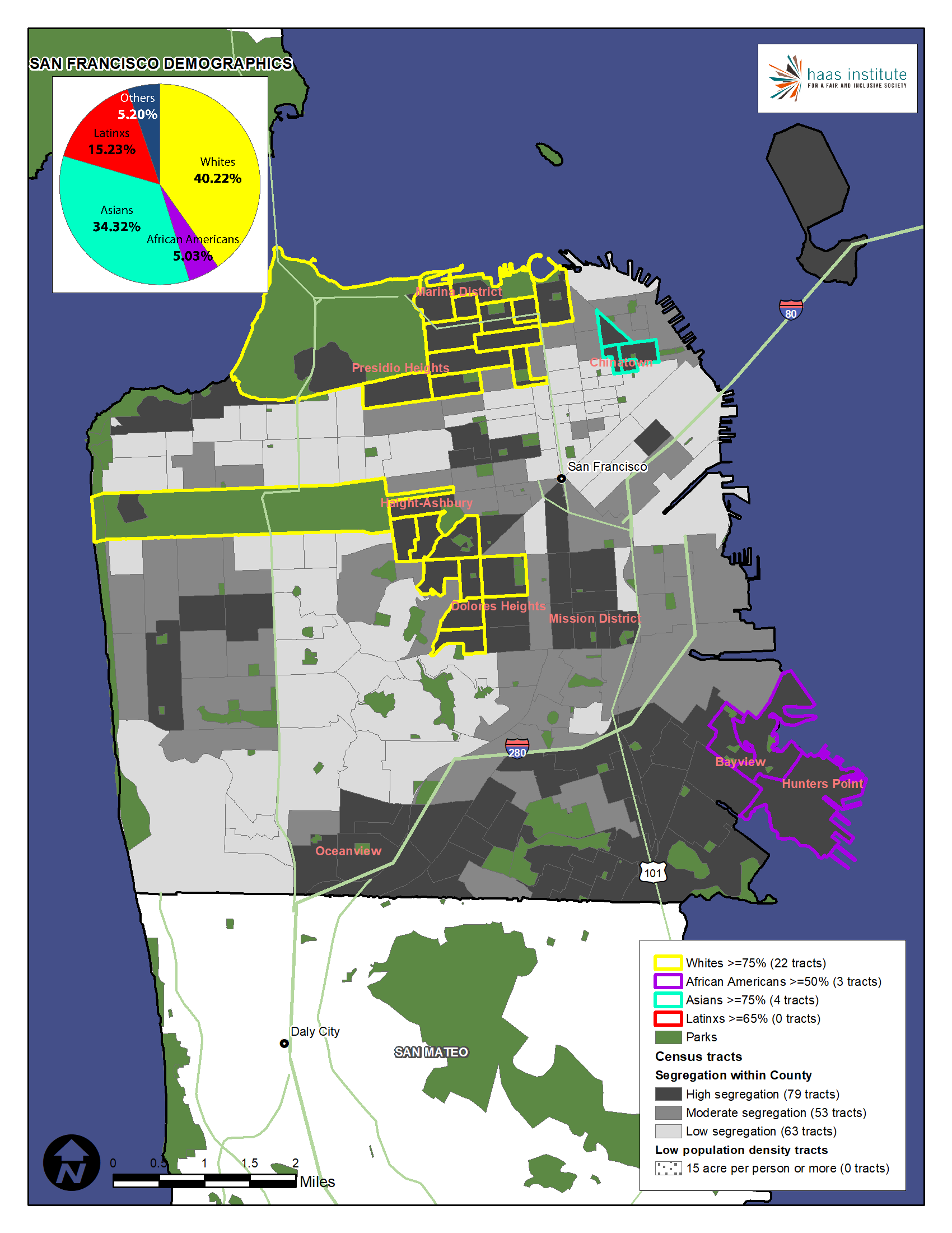 Map shows demographic makeup of San Francisco County