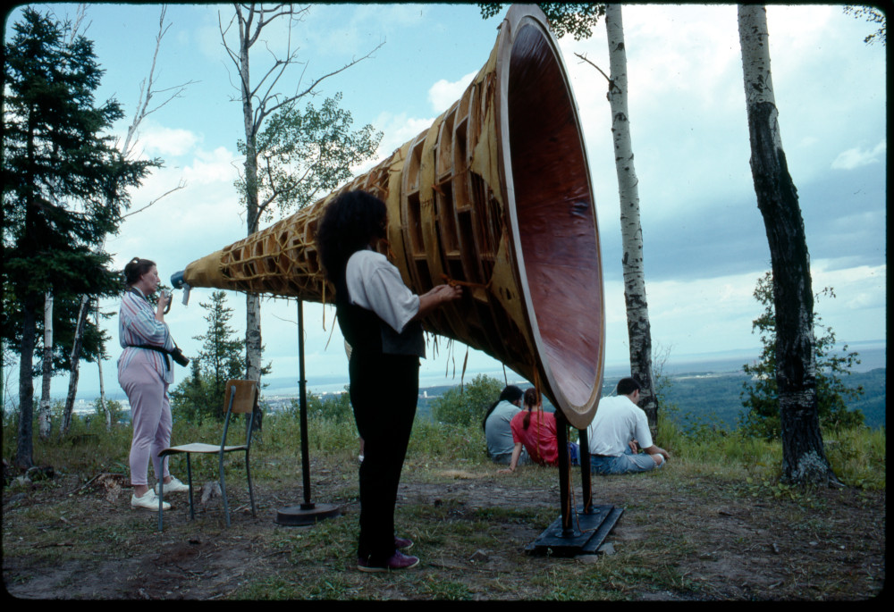 Gathering, Mount Mackay, Fort William First Nations, Thunder Bay, Ontario, 1992 Photo: Michael Beynon. Image Courtesy of the Walter Phillips Gallery, Banff Centre for Arts and Creativity