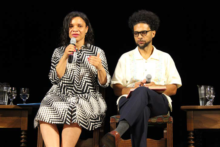 Talitha LeFlouria, Associate Professor in African and African-American Studies at the University of Virginia, and Dennis Childs, Associate Professor of African American Literature at UC San Diego, share the stage at the 400 Years of Resistance to Slavery
