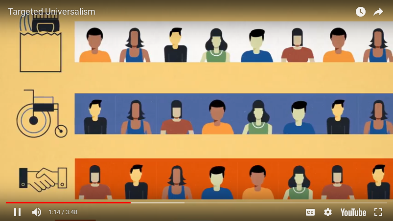 An image grab from the targeted universalism video.