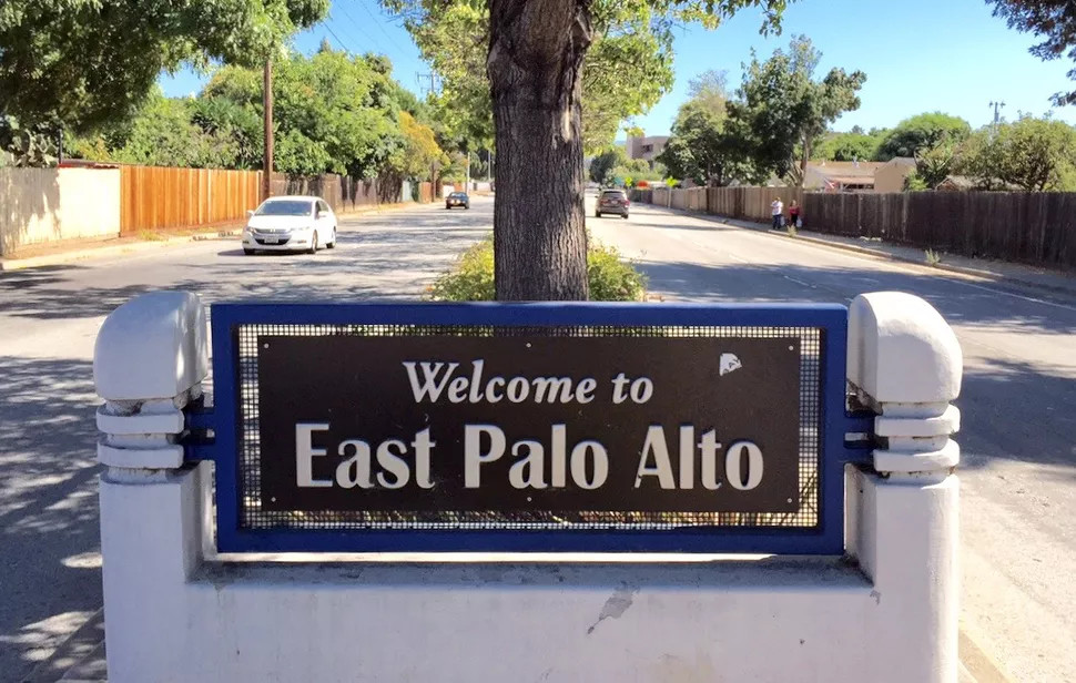 Picture shows a sign that says Welcome to East Palo Alto