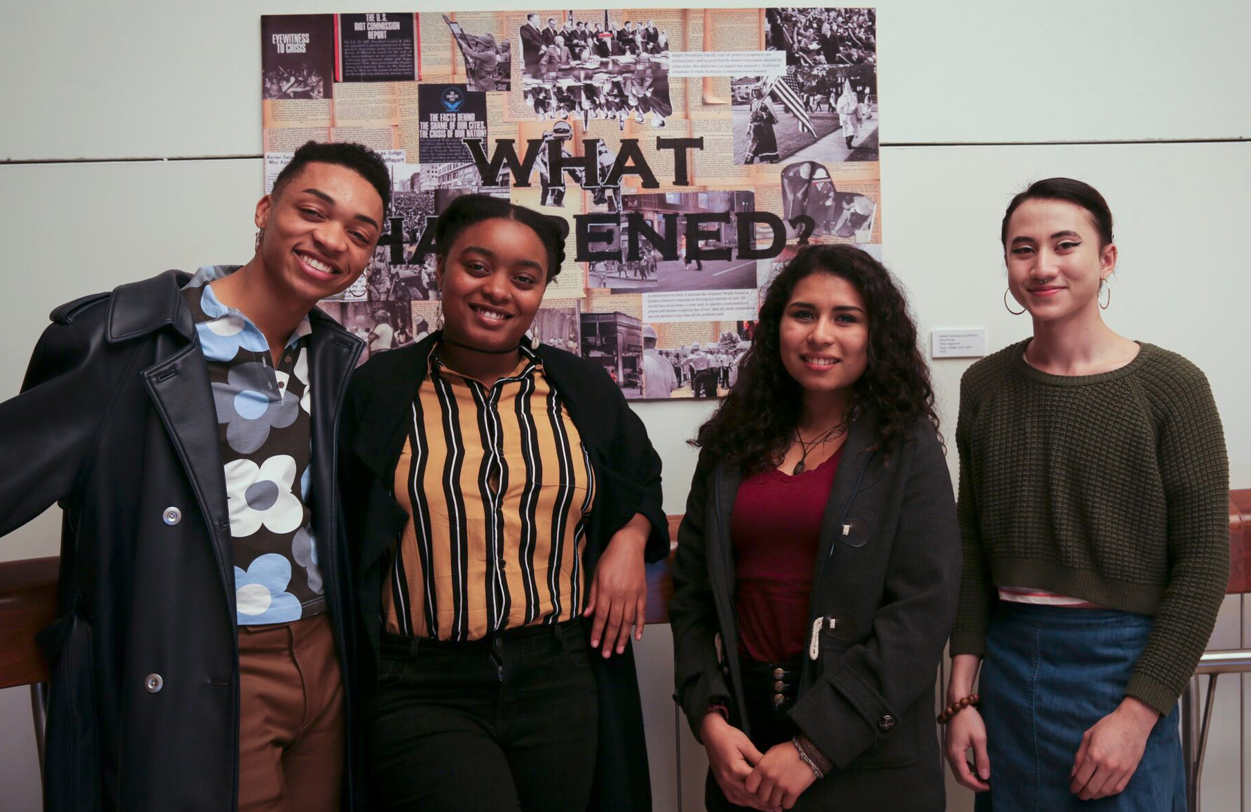 Kerner@50 Student Art Collaborative, Nikko Duren, Kiana Parker, Dulce María López, and el lee Silver. Not pictured Ashley Holloway and Lulu Matute.