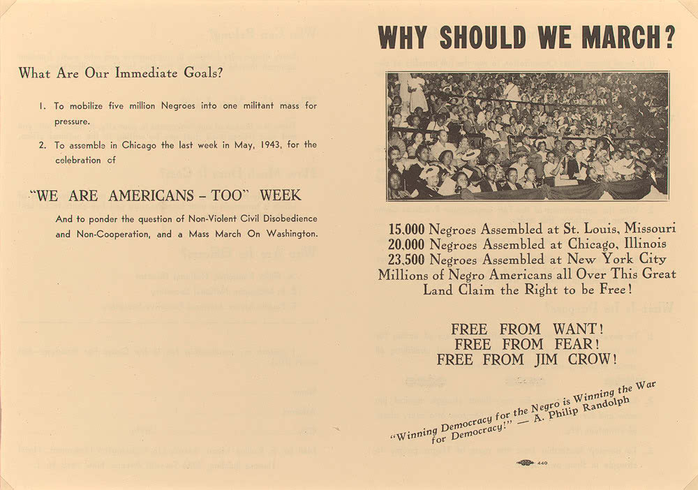 "A. Philip Randolph, ""Call to Negro America to March on Washington for Jobs and Equal Participation in National Defense,"" Black Worker 14 (May 1941)"