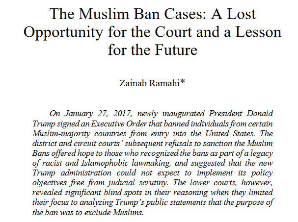 first page of the muslim ban law review article