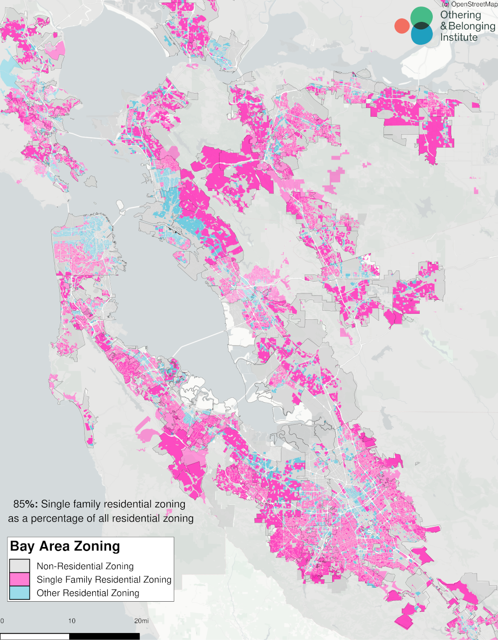 Zoning parcel map of the bay area